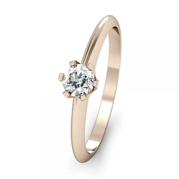 Klassischer Verlobungsring The One 0 15 Ct Karat In Rosegold 14k